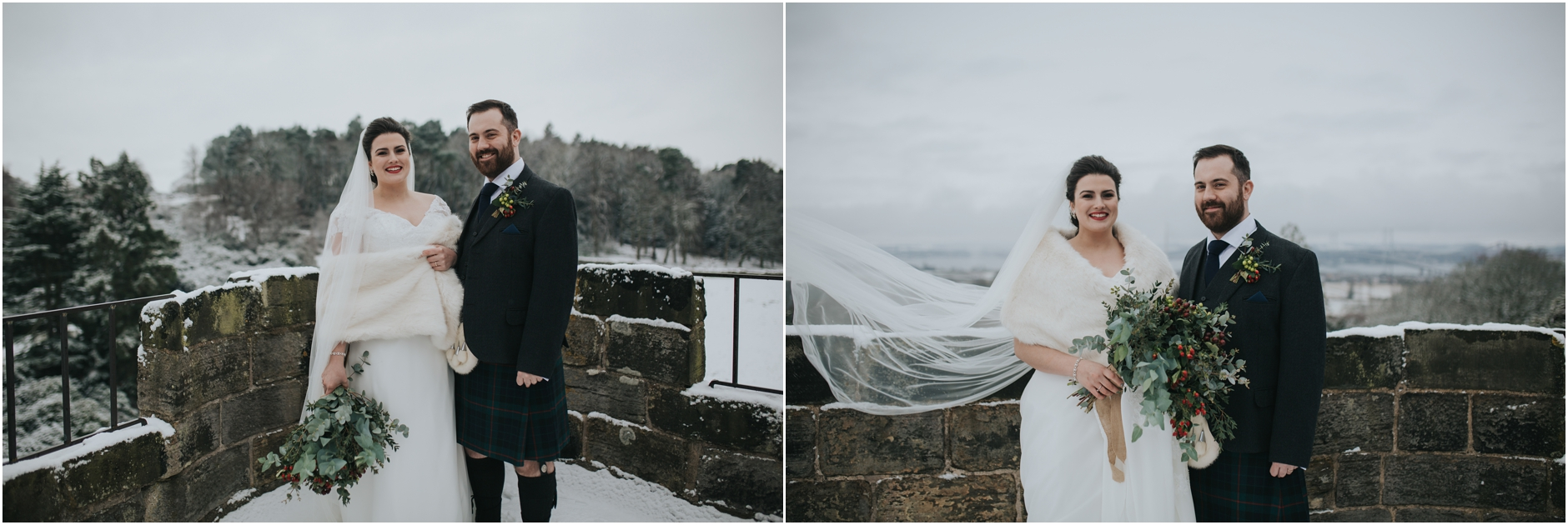 winter snowy wedding at dundas castle Edinburgh scotland