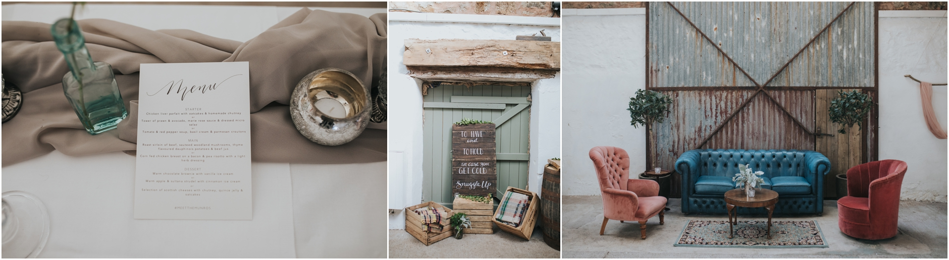 cow shed wedding crail venue details and set up by little white cow