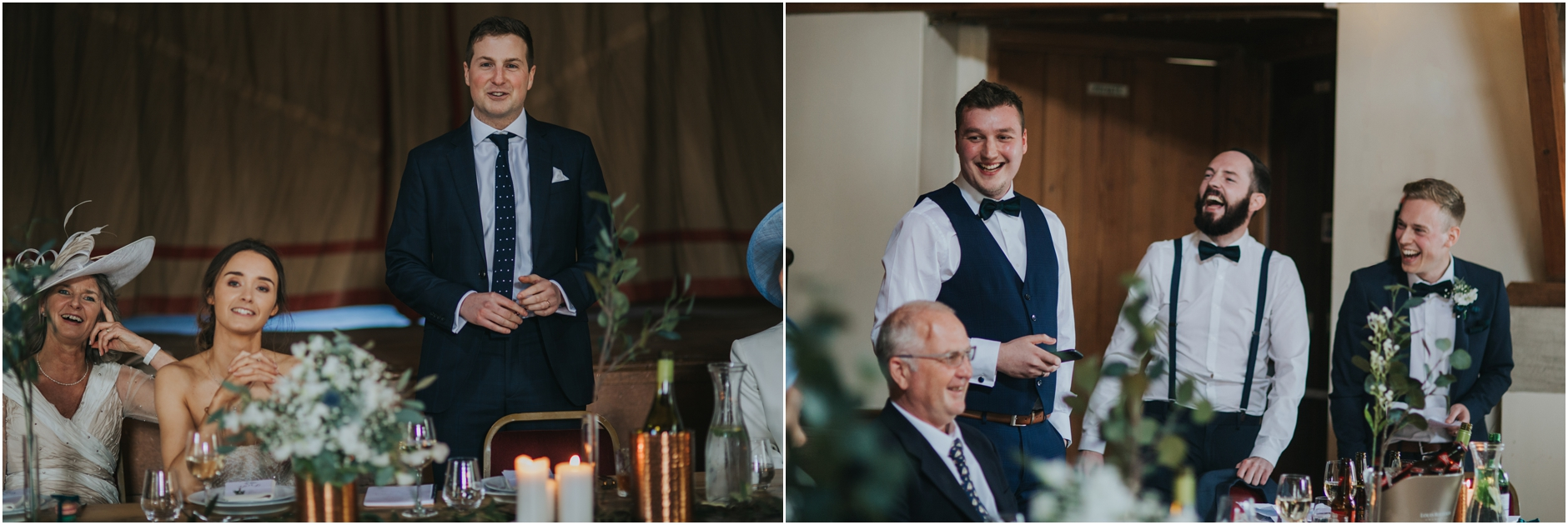 laughing during speeches at fortingall wedding