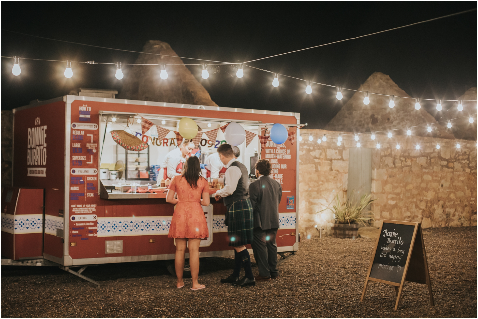 alternative scottish wedding photographer burrito van at wedding