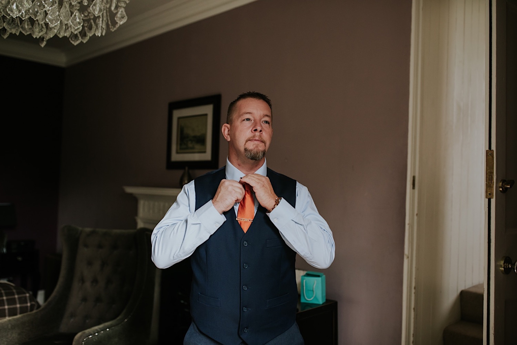 groom getting ready on his wedding day