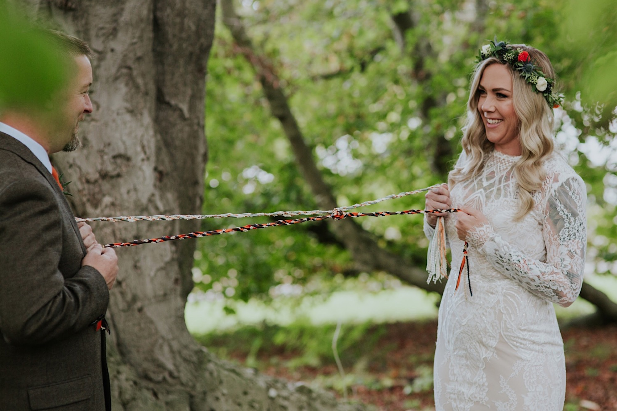 hand fasting ties and scottish quaich wedding ceremony