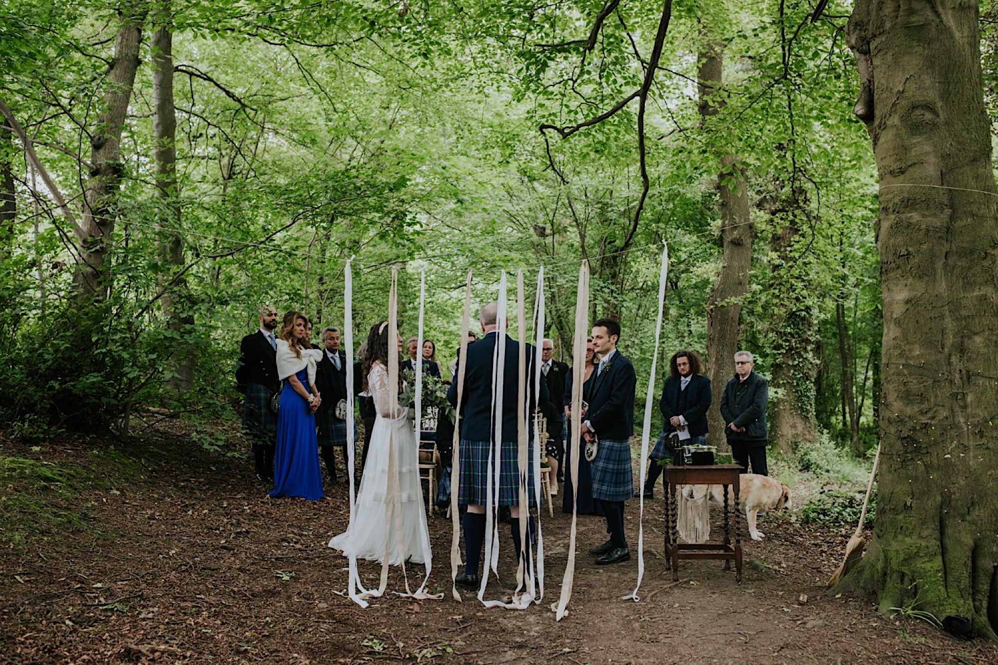 romantic woodland wedding ceremony
