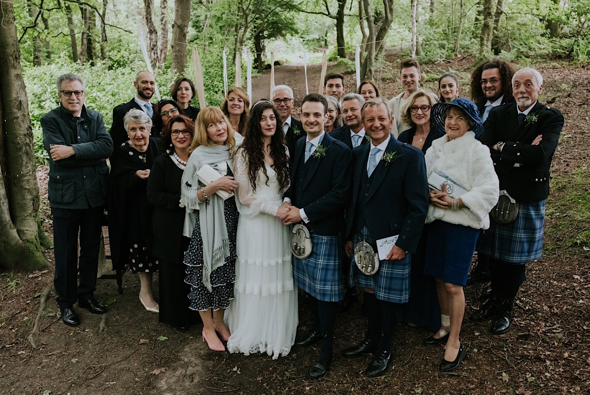 photos of all wedding guests after ceremony