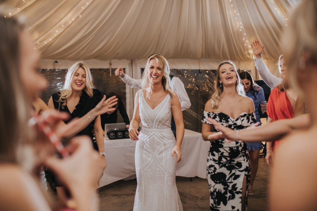 cow shed crail bride dancing photo