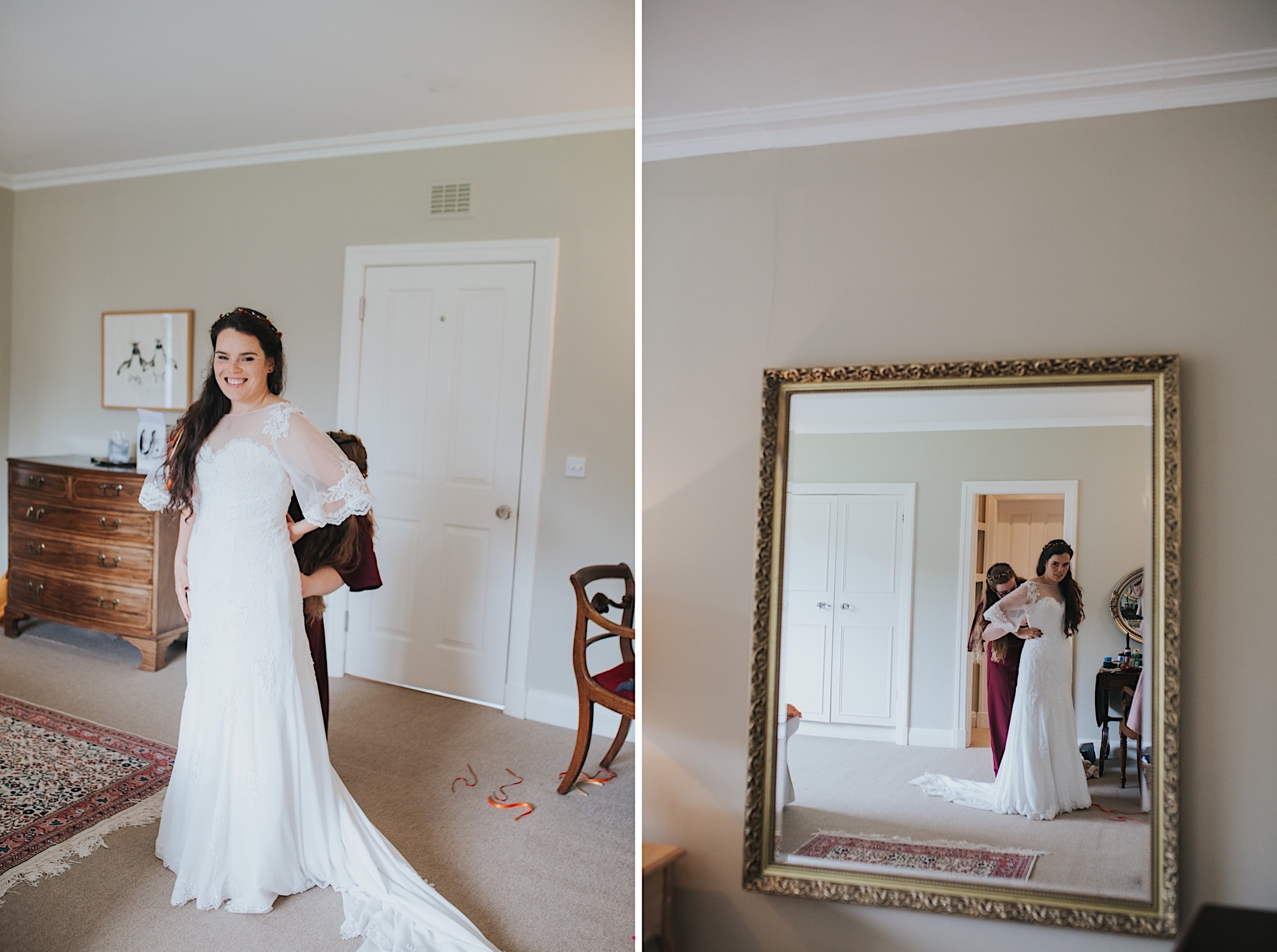 bride having wedding dress done up