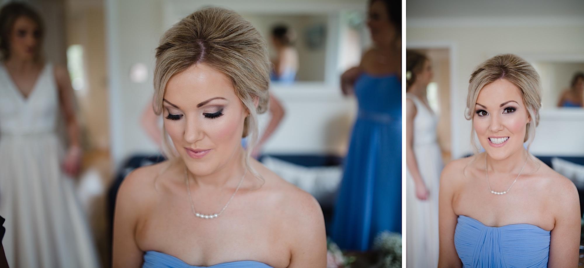 bridesmais having her make up done