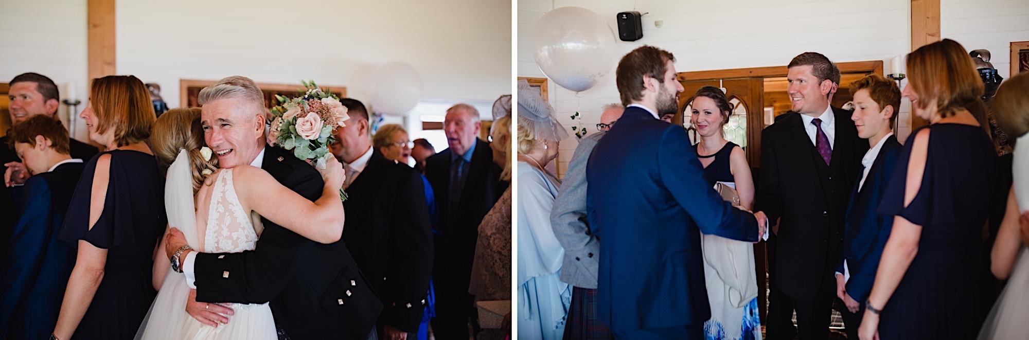 guests congratulation bride and groom