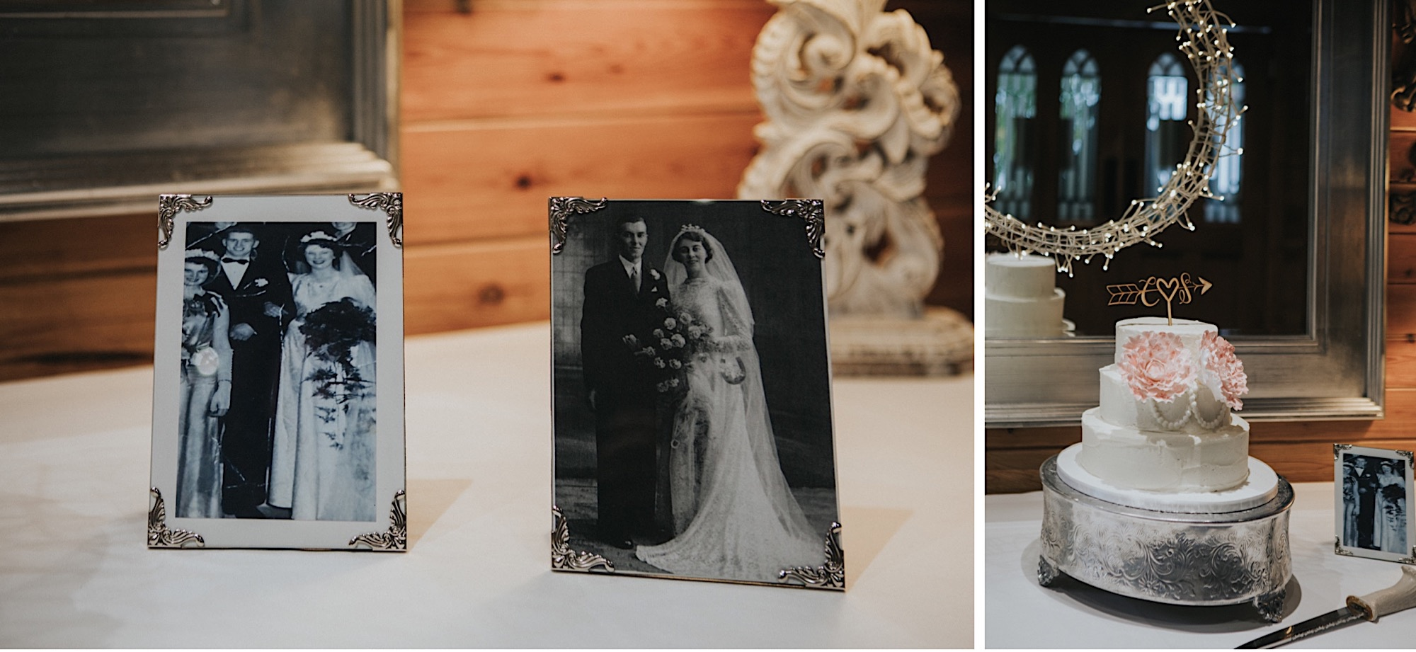 rustic naked wedding cake with photos of parents weddings beside