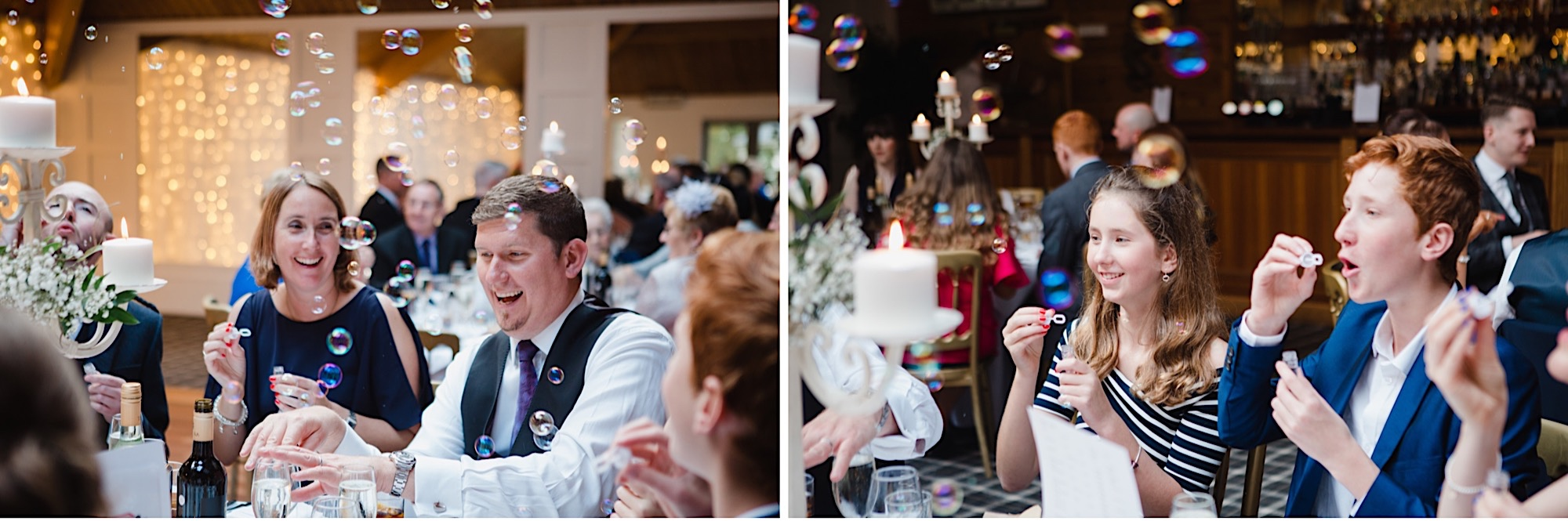 guests with bubbles blowing them at tables