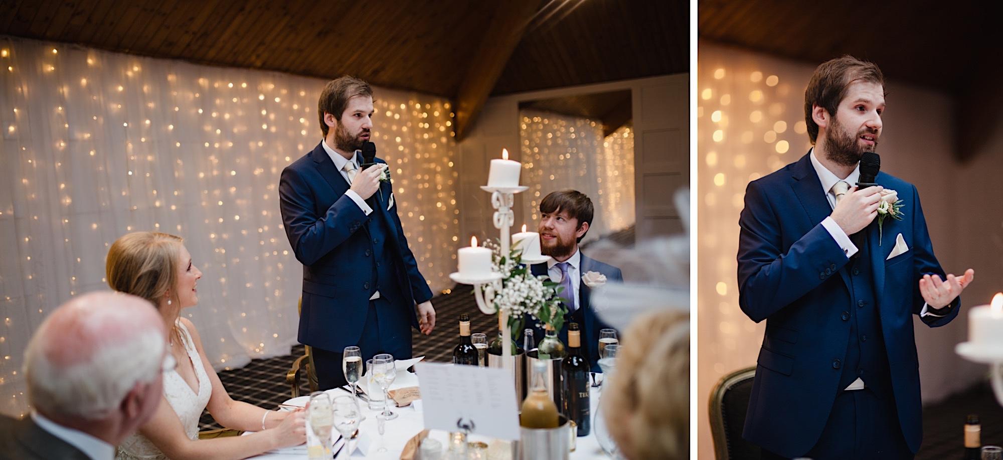 groom saying his wedding speech loch lomand wedding cruin