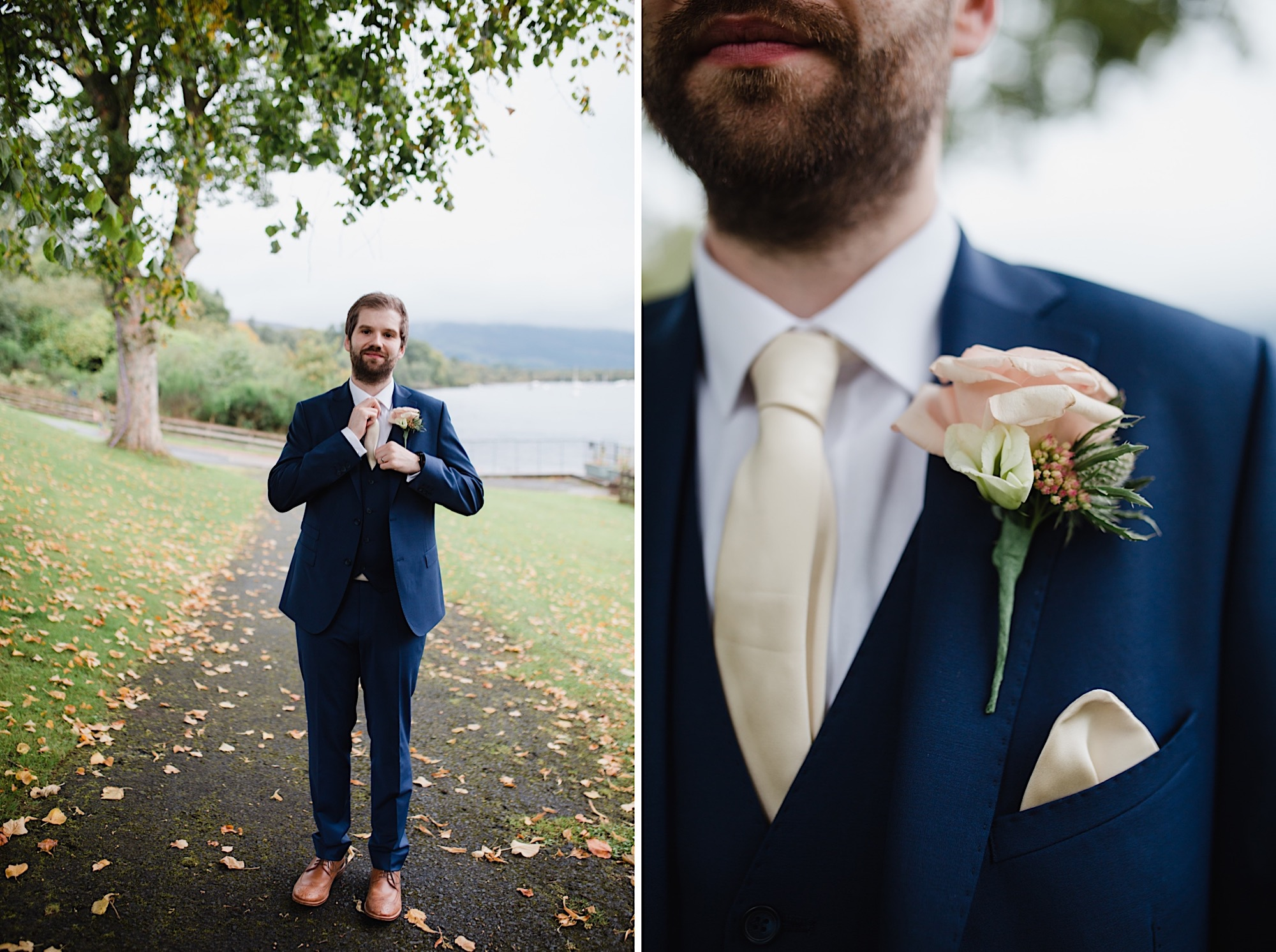 groom portraits on the banks of loch lomand