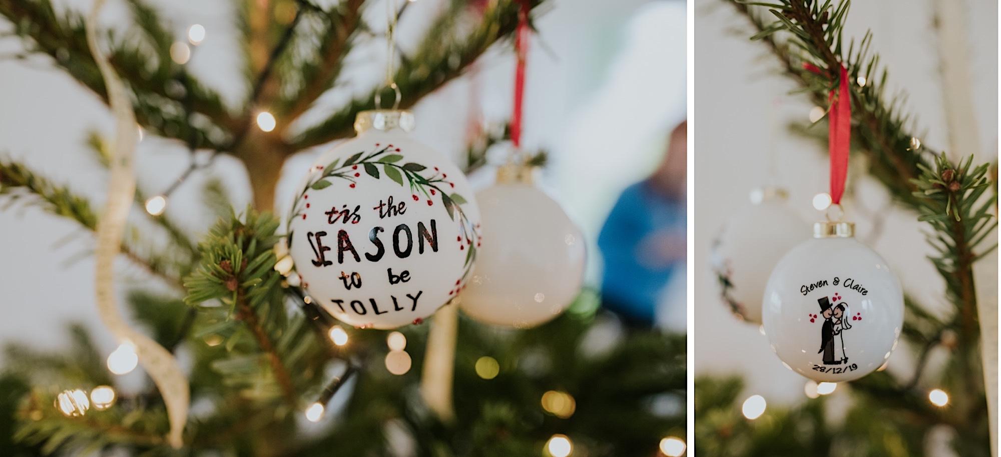 christmas winter glasgow wedding baubles on a tree