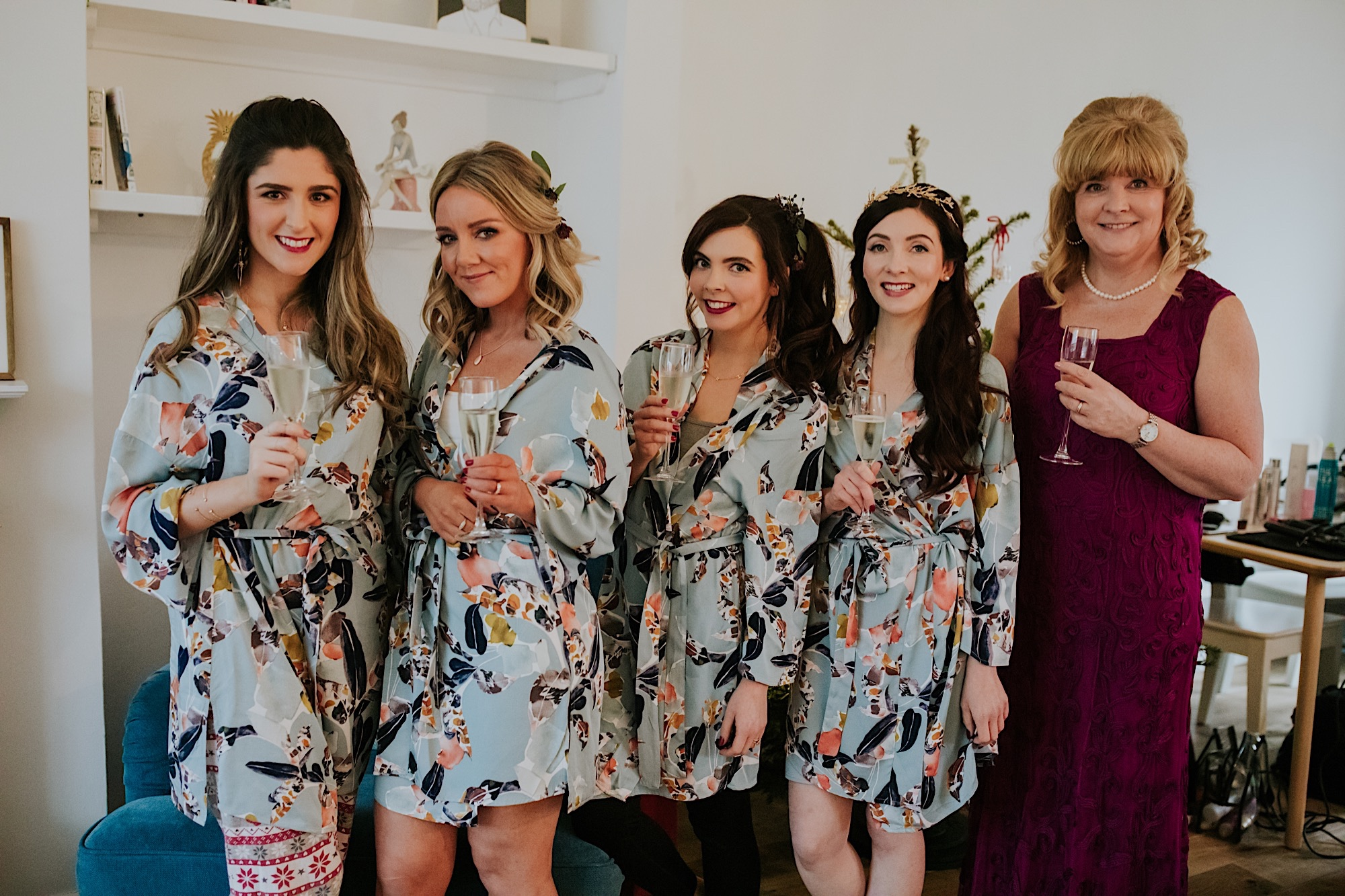 bridesmaids and bride in floral ted baker wedding robes