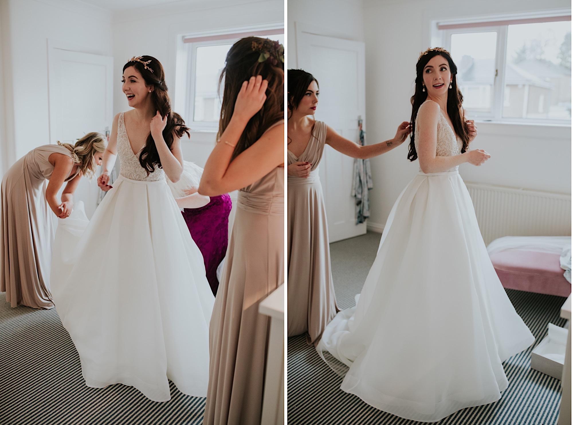 bride having her wedding dress buttoned up