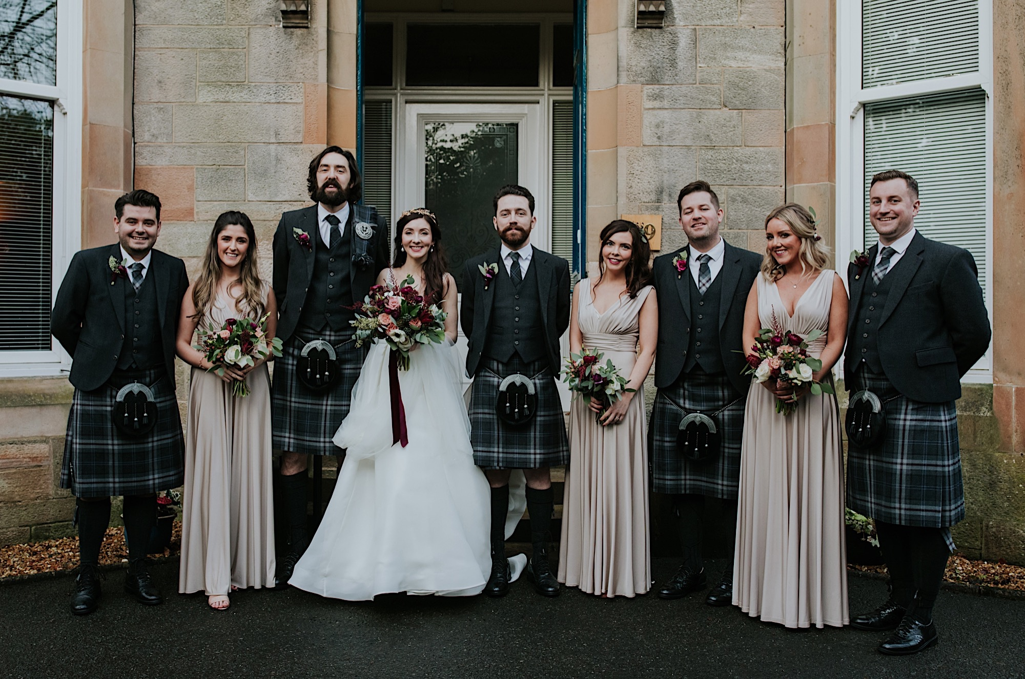 wedding group shot with bridesmaids and groomsmen