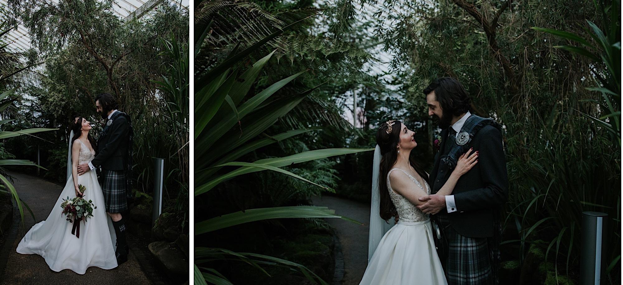 bride and groom glasshouse glasgow botanical gardens