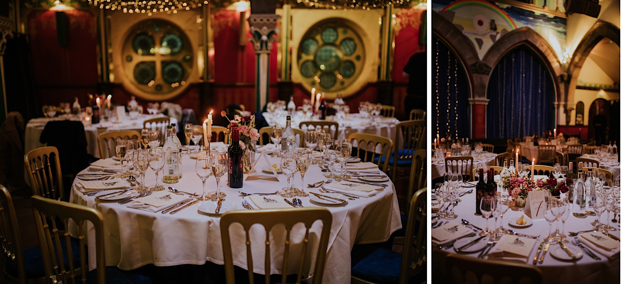 oran more glasgow winter wedding december table set ups with warm colours