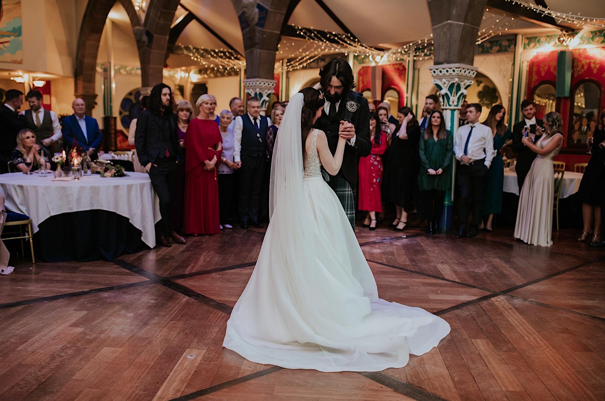 bride and groom first dance at oran mor glasgow wedding